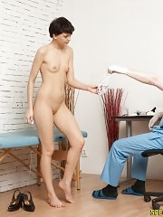 Brunette hardly bearing the medical fetish procedures