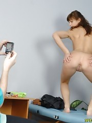 Undressed by a male doctor with a camera