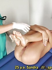 Tiny-titted leggy girl at the humiliating checkup