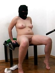 Fatty baton-fucked at a masked nude army training