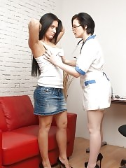 Long-haired cold girl examined by a hot gynecologist