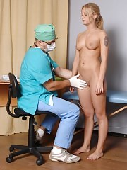 Undressed girl passes the first confusing medical tests