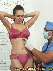 Doctor despising his saggy-titted hairy patient
