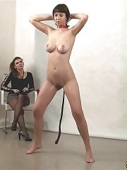 Gorgeous sport mistress and her busty jumping slave