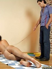 Nude training in a collar under the male control