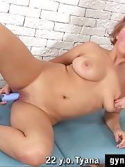 Clamped nipples of a big-boobed orgasm examinee
