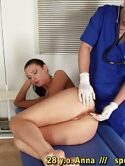 Tall nude babe at the gyno fetish disposal