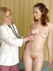 Shocked babe lets two doctors examine her hard