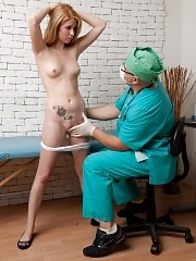 Finger fuck and Jennings gag at a teen mouth exam