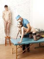Husband watches his wife undergoes a bizarre checkup