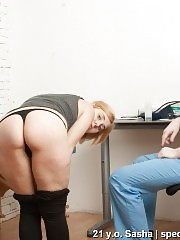 Shy sport girl passing a maledom examination