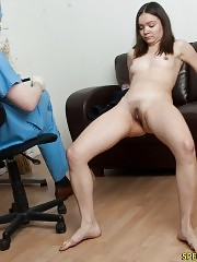 Nude embarrassing exam of a flexible brunette