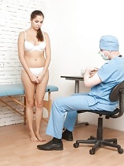 Big-titted submissive babe at the bdsm gyno examination