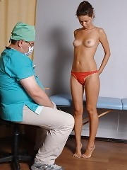 Undressing a college girl for a dirty medical exam