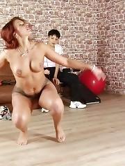 Big-boobed gymnast exercised by a lusty lesdom milf