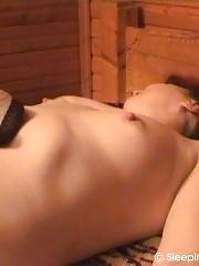 Dormant nude mature sleeper gets handled