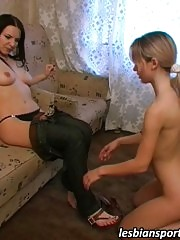 Lesbian coach and her trainee exercise and have sex