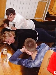 Drunk mature lady gets fucked by 2 young studs