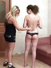 Lesbian blondie flirts with a teen gymnast