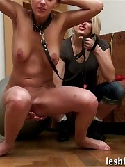 Busty fitness bitch obeys a lusty cruel lesbian