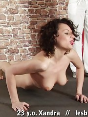 Busty fit babe trained and licked by a lezzie