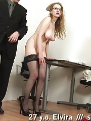 Boss paddles and slaps a big-titted secretary