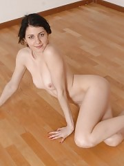 Nude sports missy stretching and jumping