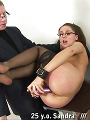 Teacher in the stockings gets a cuffed spanking