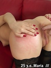 Pussy rubbing after merciless butt thrashing