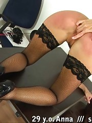 Teacher in fishnets punished with an ass thrashing