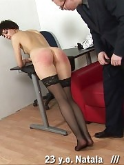 Leggie in stockings whipped ruthlessly