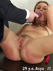 Spanking lesson given to a redhead minx