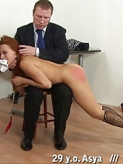 Fearful redhead ready to get a painful lesson