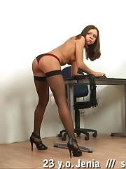 Boss disciplines a secretary with a self pussy paddling