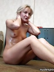 Naked yoga and gymnastics done by a blonde chick