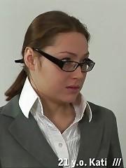Spanking a teacher ass after a chain castigation