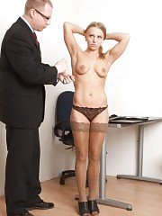 Office milf in stockings tastes a flogger