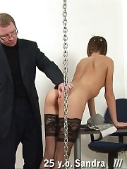 Painful ass thrashing on the table with cuffed hands