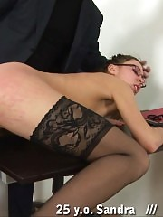 Shocked tall teacher undressed for thrashing