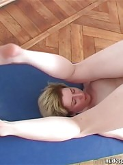 Several nude amateur yoga and gymnastics exercises