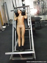 Two kitties working out in gym naked