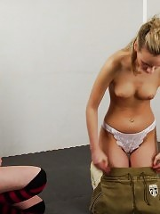 Teen blondie exercised and seduced by a lezzie