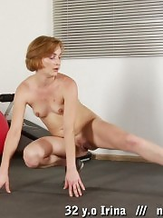 Nude amateur gymnast excited with stretching