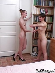 Lesbian coach exercises a naked flexible girl