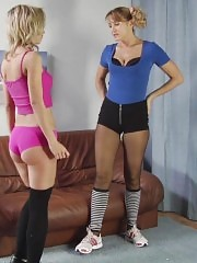 Blonde lesbian gymnast seduces her trainer