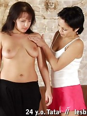 Juggy young fatty obeys a mature gym lesbian