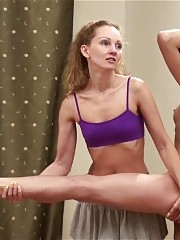 Exercised and pleased naked lesbian gymnast