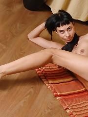 Amazingly leggy nude yoga asanas