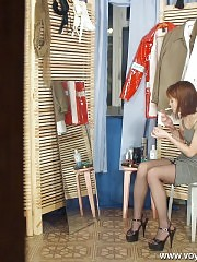 Leggy lass gets caught by spy cam
