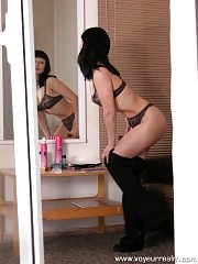 Spying after a juicy brunette in lingerie